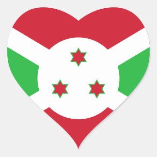 Burundi Pegatina En Forma De Corazón