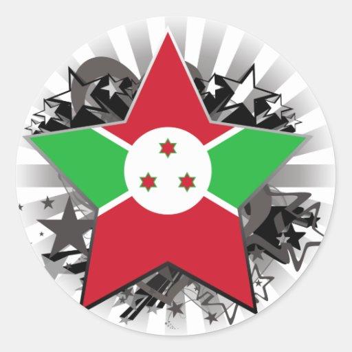 Burundi Star Round Stickers
