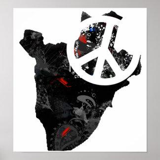 Burundi Trendy Peace Sign with Burundian map Poster