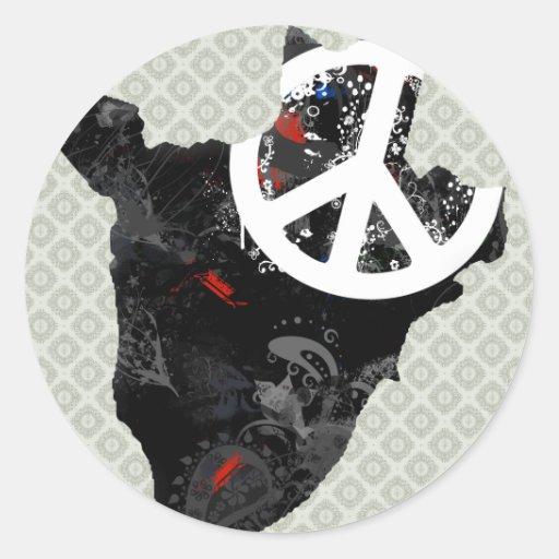 Burundi Trendy Peace Sign with Burundian map Round Sticker