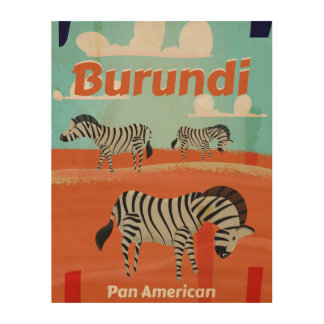 Burundi vintage travel poster wood wall art