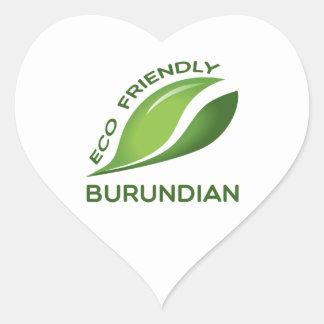 Burundian. amistoso de Eco Pegatina En Forma De Corazón