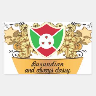 Burundian con clase rectangular pegatina