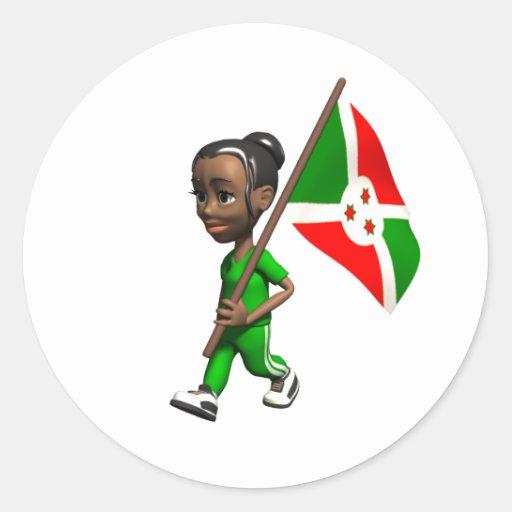 Burundian Girl Round Stickers