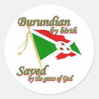 Burundian por el nacimiento ahorrado por la gracia pegatina redonda