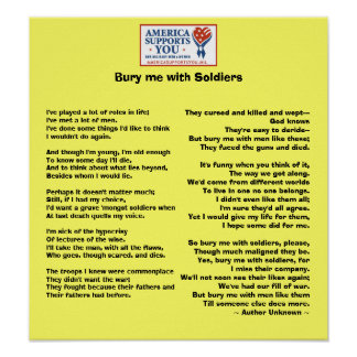 Bury me with Soldiers - Honor Our Veterans Poster