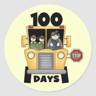 Bus 100 Days of School t-shirts and Gifts sticker