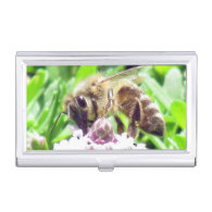 Bus. Card Holder - Honey Bee on Clover Business Card Cases