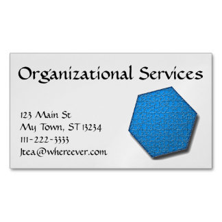 Bus. Card (mag) - Hexagon jig-saw puzzle/blue Magnetic Business Cards (Pack Of 25)