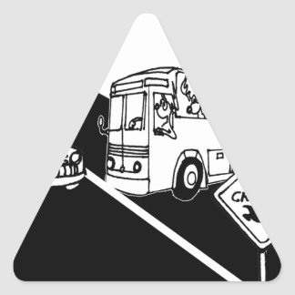 Bus Cartoon 3251 Triangle Sticker