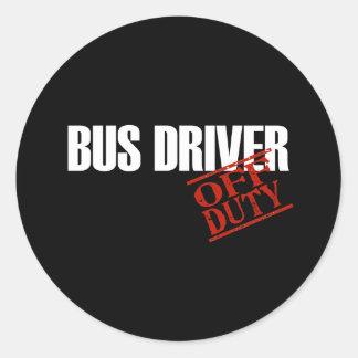 BUS DRIVER DARK CLASSIC ROUND STICKER