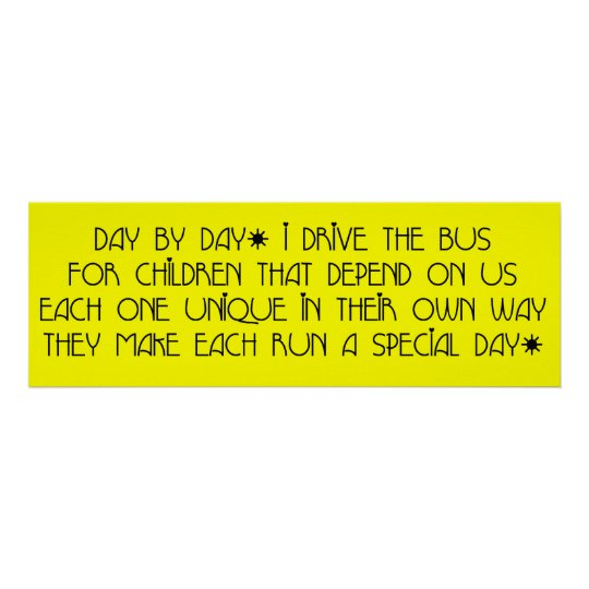 Bus Driver Day By Day Poster