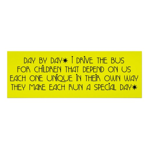 Bus Driver - Day Day Day Poem Poster