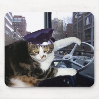 Bus Driving Cat Mouse Pad