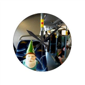 Bus Gnome Round Clock