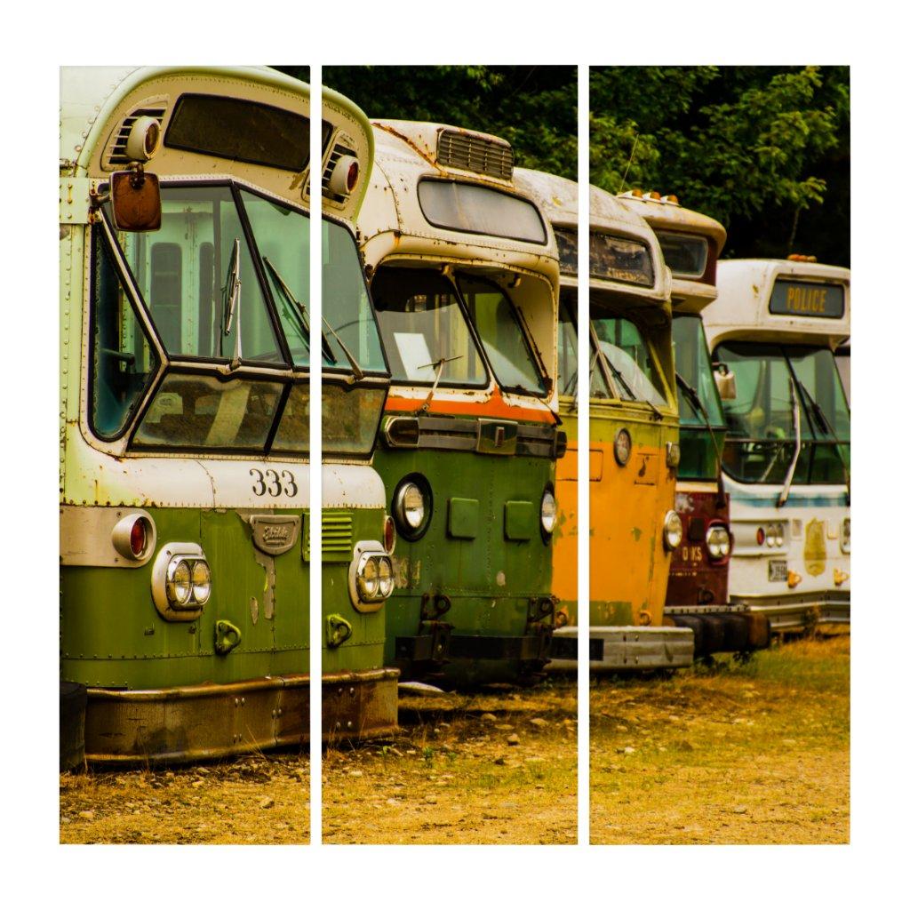 Bus Graveyard AcryliPrint®HD Triptych Wall Art (3) 36