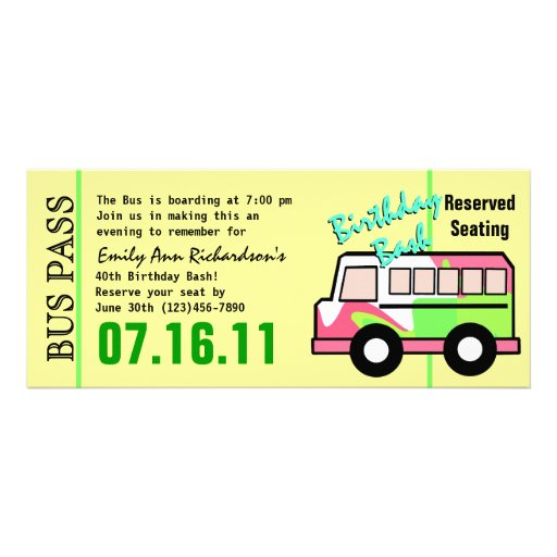 Bus Pass Birthday Party Personalized Invites