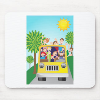 Bus Riding People Cartoon Mouse Pad