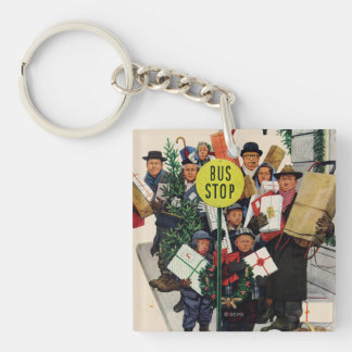 Bus Stop at Christmas Keychain