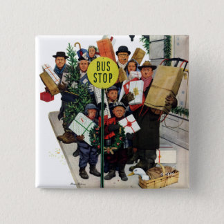 Bus Stop at Christmas Pinback Button