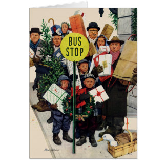 Bus Stop at Christmas Stationery Note Card
