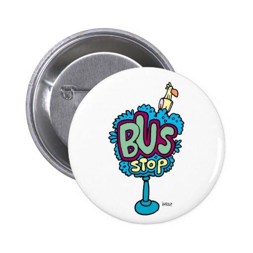 Bus Stop Bird Pinback Buttons