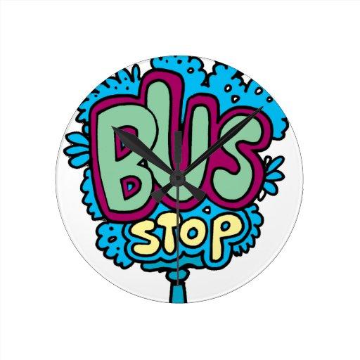 Bus Stop Bird Wall Clocks