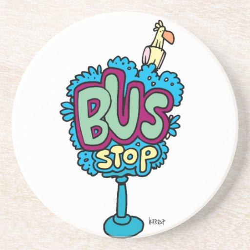 Bus Stop Bird Beverage Coaster