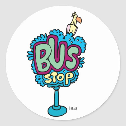 Bus Stop Bird Round Stickers