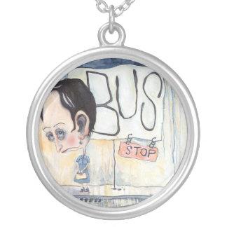 Bus Stop Round Pendant Necklace