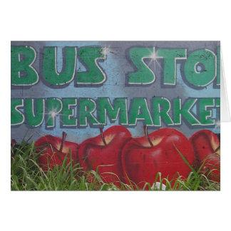 BUS STOP supermarket Greeting Card