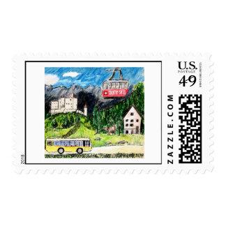 Bus Tour Postage Stamps