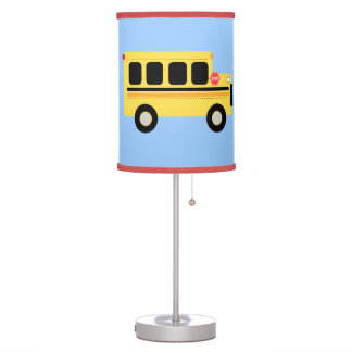 Bus Town Blue/Red Nursery Room Lamp