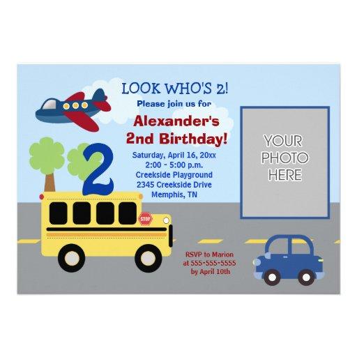 Bus Transportation Theme *PHOTO* Birthday 5x7 Invitations