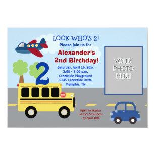 Bus Transportation Theme PHOTO Birthday 5x7 Invitation