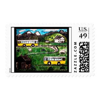 Bus Trip Postage Stamp