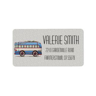 Bus turístico lindo del autobús etiqueta de dirección