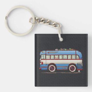 Bus turístico lindo del autobús llavero cuadrado acrílico a una cara