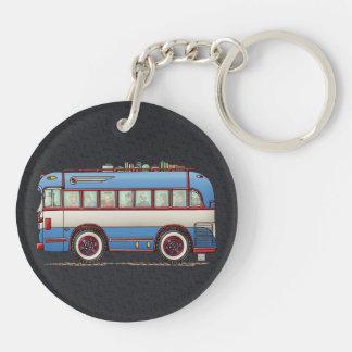 Bus turístico lindo del autobús llavero redondo acrílico a doble cara