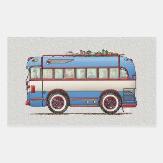 Bus turístico lindo del autobús pegatina rectangular