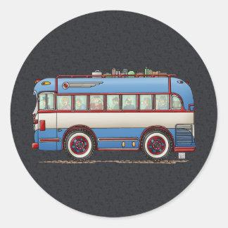 Bus turístico lindo del autobús pegatina redonda
