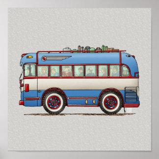 Bus turístico lindo del autobús póster