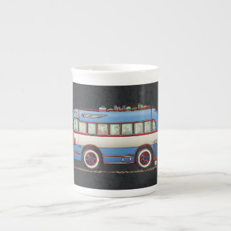 Bus turístico lindo del autobús taza de porcelana