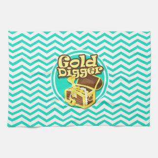 Buscador de oro; Aguamarina Chevron verde Toallas De Cocina