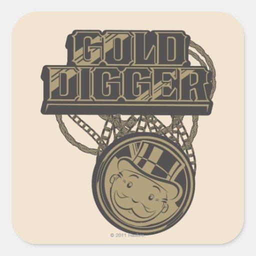 Buscador de oro pegatina cuadrada