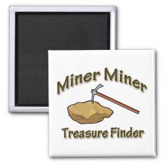 Buscador del tesoro del minero del minero imán cuadrado
