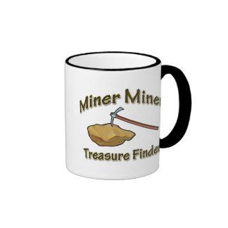 Buscador del tesoro del minero del minero tazas de café