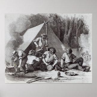 Buscadores de oro de Alexander del soporte en el l Póster