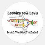 Buscando amor en todos los alelos derechos (DNA) Etiquetas Redondas