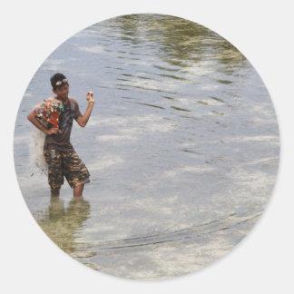 Buscar los crustáceos pegatinas redondas